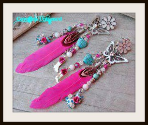 COUNTRY COWGIRL EARRINGS Aqua Turquoise N Sterling Silver Charm Pink Feather Earrings