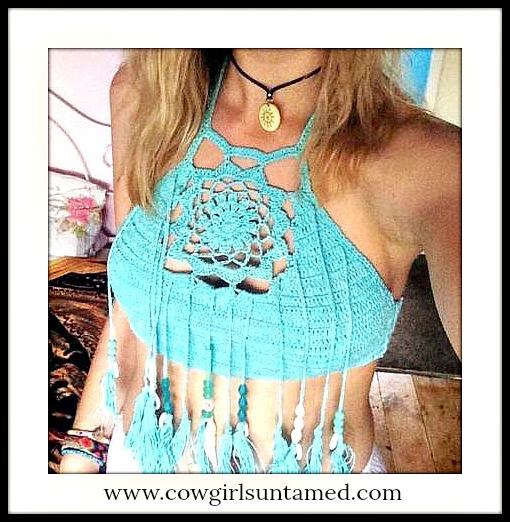 WILDFLOWER TOP Crochet Lace Tassel High Neck Boho Chic Halter Top / Bikini Top