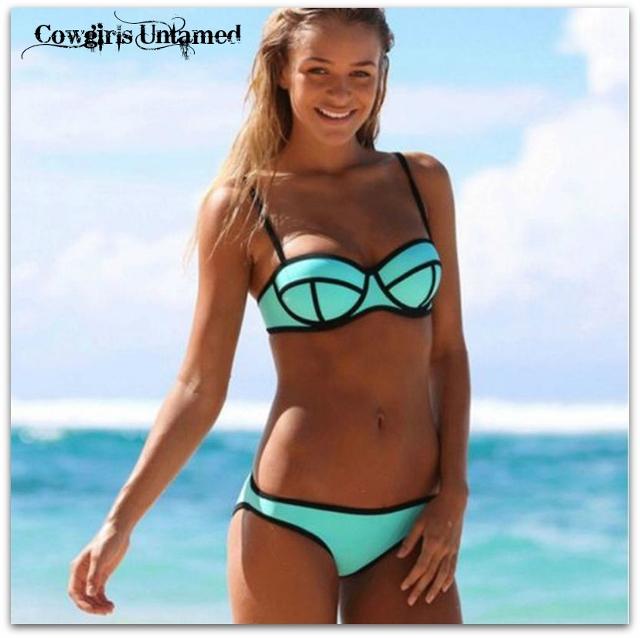 COWGIRL PINUP STYLE BIKINI Green & Black Fashion Retro Bikini Swimwear