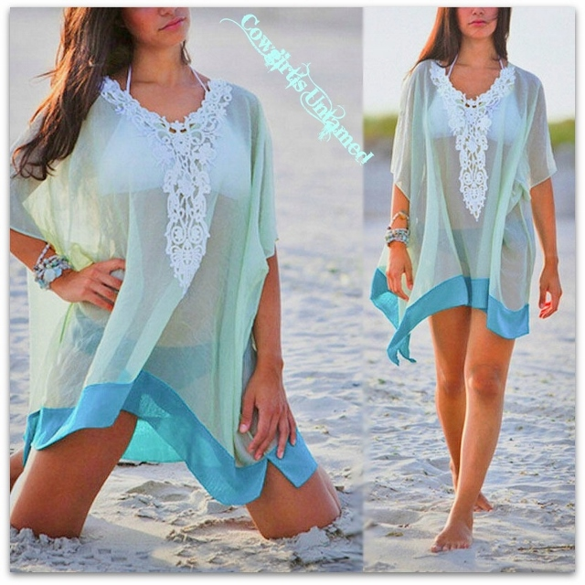 WILD FLOWER TOP White Lace Neckline Semi Sheer Aqua and Turquoise Oversized Tunic Top Swimsuit Cover Up