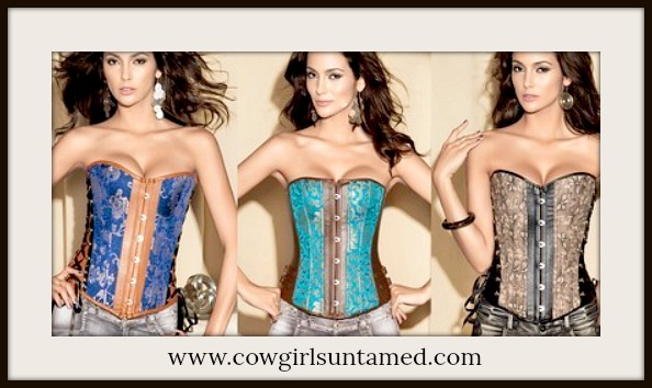 CORSET - Satin & Brown Faux Leather Side Buckles Lace Up Cowgirl Western Corset Top Bustier