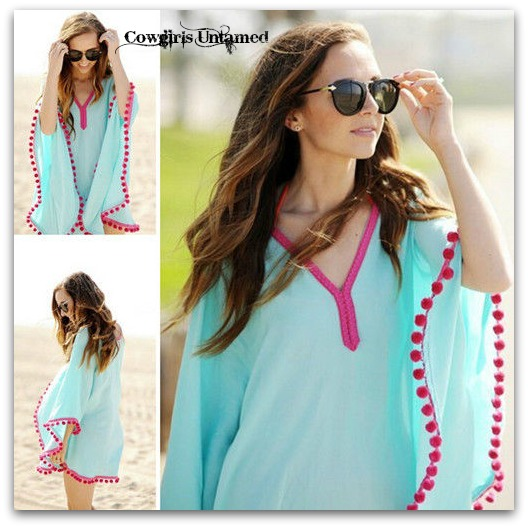 WILD FLOWER COVER UP Hot Pink Pom pom trim on Aqua Poncho Style Boho Bikini Coverup