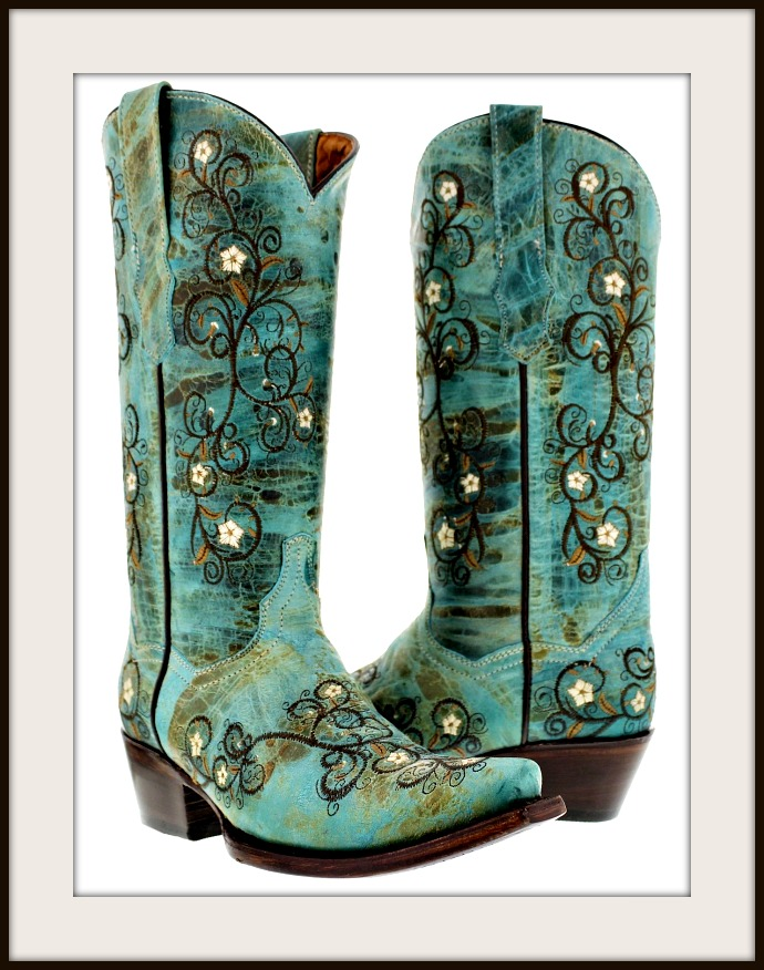 WILDFLOWER BOOTS Embroidered Floral Vines Distressed Aqua Leather Cowgirl Boots