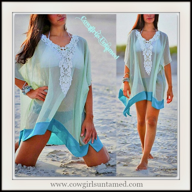 WILDFLOWER TOP White Lace Semi Sheer Aqua and Turquoise Oversized Top