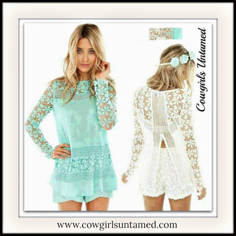 COWGIRL GYPSY TOP Chiffon and Crochet Lace with Open Back Long Sleeve Top