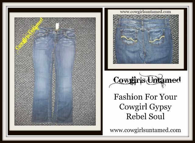COWGIRL STYLE JEANS Embroidered Pocket Dark Wash Designer Arden B Denim Western Jeans
