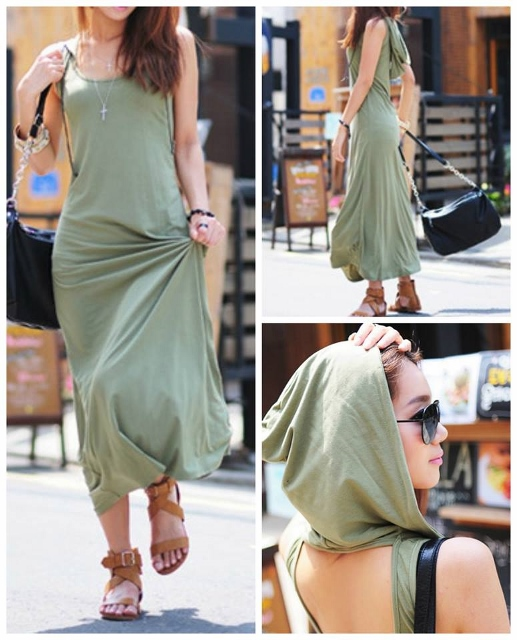 COUNTRY COWGIRL DRESS Army Green Hooded Scoop Neck and Cut Out Back Sleeveless Long Western Maxi Dress