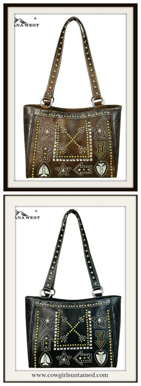 BOHEMIAN COWGIRL HANDBAG Multi Colored Arrow Embroidery Antique Bronze Studded Black Leather Handbag