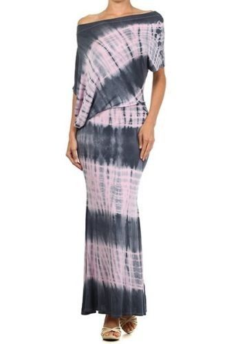COWGIRL GYPSY DRESS Boho Chic Asymmetrical Dolman Sleeve Off the Shoulder Pink Charcoal Grey Tie Dye Western Maxi Dress