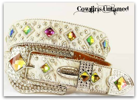 COWGIRL BELT Rhinestone Studded Aurora Borealis Prism Concho on White Hair on Hide Leather Western Belt