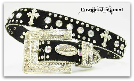 ATLAS BELT Rhinestone N Silver Studded with Silver Crystal Cross Concho N Silver Crystal Buckle Black LEATHER Belt