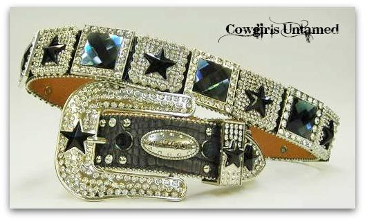 ATLAS BELT Black Crystal Star N Prism Rhinestone Studded Silver Buckle Leather Western Belt