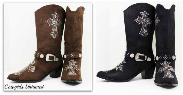 COWGIRL STYLE BOOTS Rhinestone Cross Suede Western Cowgirl Boots