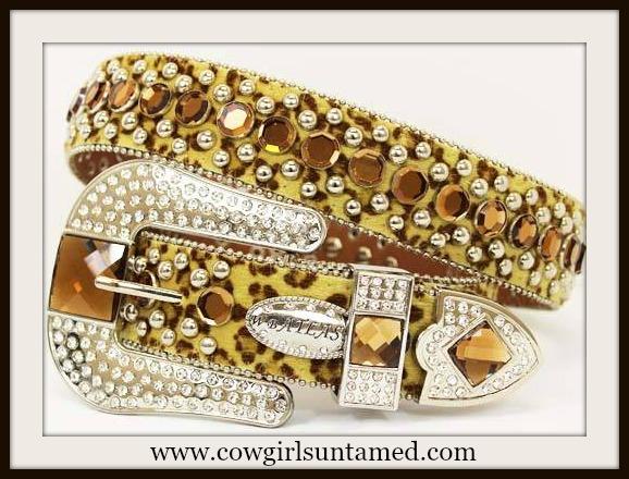 COWGIRL GLAM BELT Rhinestone Studded Amber Crystal Silver Buckle Leopard Western Belt