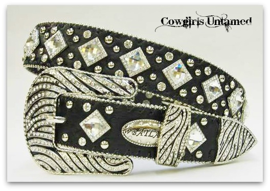 ATLAS BELT Rhinestone Studded Crystal Prism Silver Zebra Crystal Buckle on Black Leather Western Belt