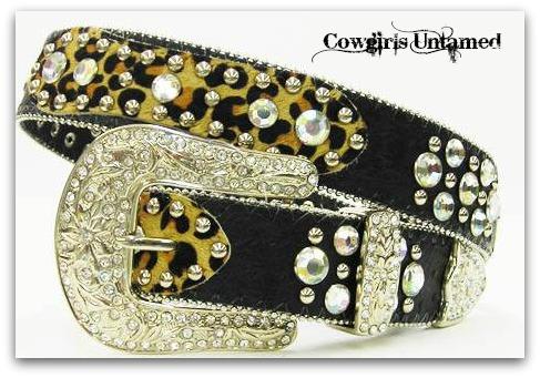 ATLAS BELT Rhinestone Studded Silver Crystal Buckle Leopard Hair on Hide Black Leather Western Belt