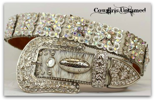 ATLAS BELT Rhinestone Studded Crystal Prism Concho Crystal Buckle White Brindle Hair on Hide Leather Western Belt