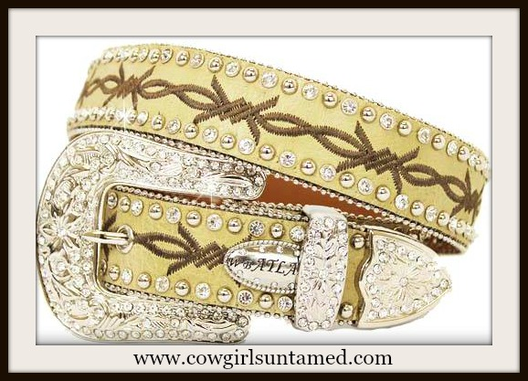 COWGIRL STYLE BELT Rhinestone Trim Embroidered Brown Barbed Wire on Beige Leather Belt