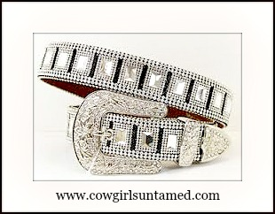 COWGIRL GLAM BELT Rhinestone Silver Buckle Belt