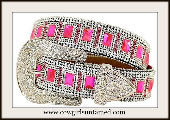 COWGIRL GLAM BELT Pink Rhinestone Silver Buckle Belt