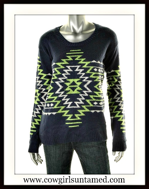 OH MG! SWEATER Green and White Aztec Design on Blue Sweater