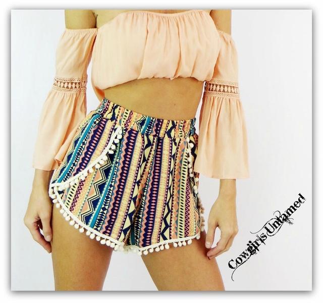 COWGIRL GYPSY SHORTS Multi Colored Tribal Boho Pom Pom Shorts