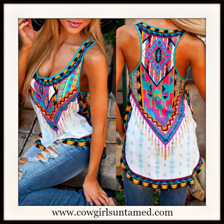 COWGIRL GYPSY TOP Aztec Tribal Multi Color Racerback Tank Top