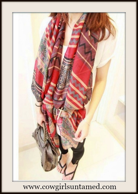 WESTERN COWGIRL SCARF Aztec Long Cotton Scarf / Shawl