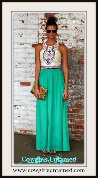 WILDFLOWER DRESS White Lace & Aztec Print White Top with Aqua Green Chiffon Maxi Dress