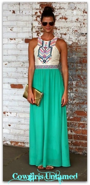 WILD FLOWER DRESS White Lace & Aztec Print White Top with Aqua Green Chiffon Maxi Dress