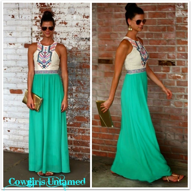 White and green maxi dress