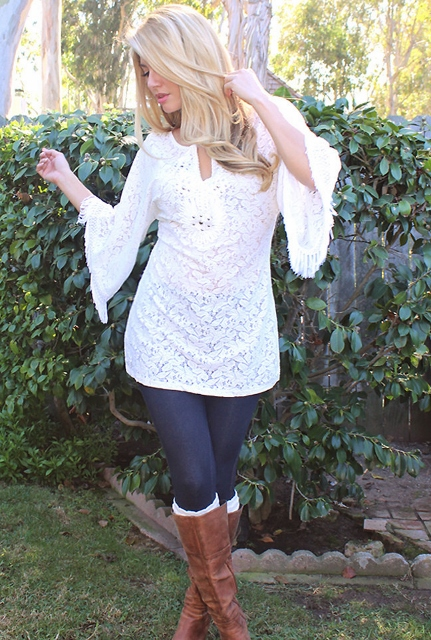 COWGIRL GYPSY TOP Embroidered Studded Neckline & Fringe on White Lace Crochet Semi Sheer Western Tunic Top Mini Dress