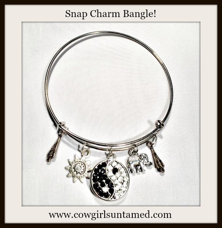 COWGIRL ATTITUDE BRACELET Silver Bangle with Rhinestone Ying Yang Snap, Elephant, Sun, & Antique Jewelry Charms Boho Bangle