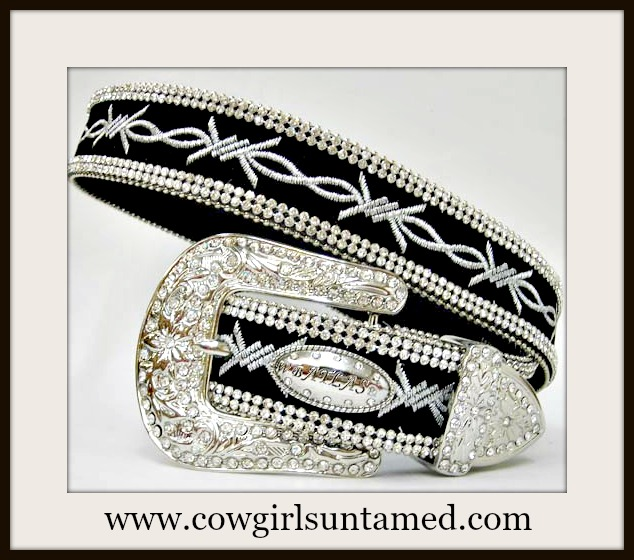 COWGIRL STYLE BELT Silver Embroidered Barbed Wire Between Double Rhinestone Trim on Black Leather Belt