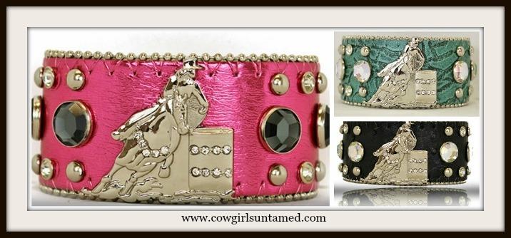 RODEO REBEL BRACELET Silver Crystal Cowgirl Horse Barrel Racer Rhinestone Studded Western Cuff Bracelet