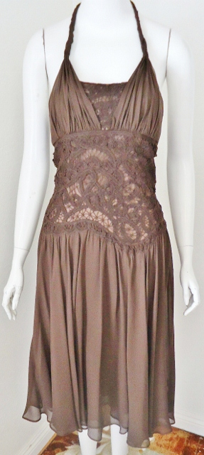 COWGIRL GYPSY DRESS Brown Lace Chiffon Halter Style Open Back Dress by BCBG