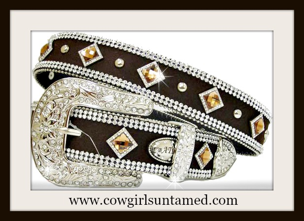 WESTERN COWGIRL BELT Amber Diamond Crystal Silver Studded Double Rhinestone Trim Brown Belt