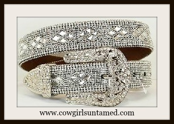 COWGIRL GLAM BELT Crystal and Rhinestone Silver Buckle Belt