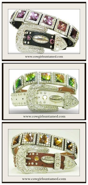COWGIRL GLAM BELT  Crystal Concho Silver Rhinestone Buckle Belt