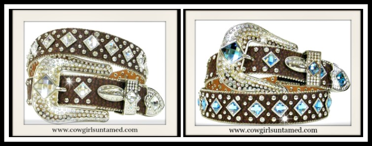 WESTERN COWGIRL BELT Diamond Crystal Silver Studded Brown Leather Belt