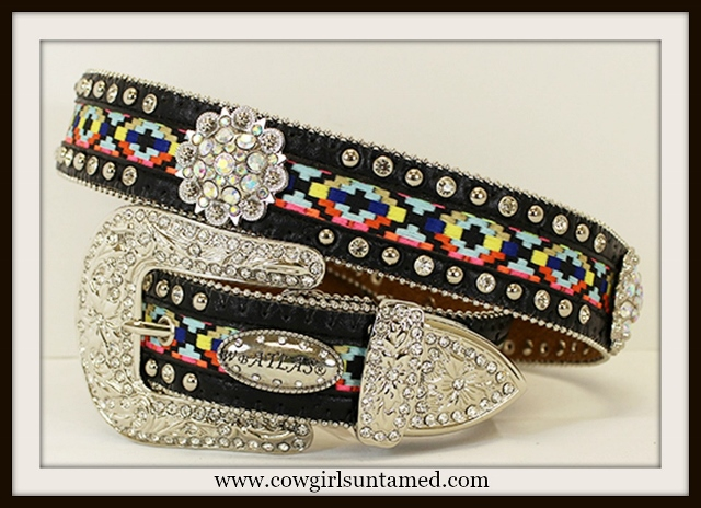 COWGIRL GYPSY BELT Aztec Design with Silver Rhinestone Concho and Buckle