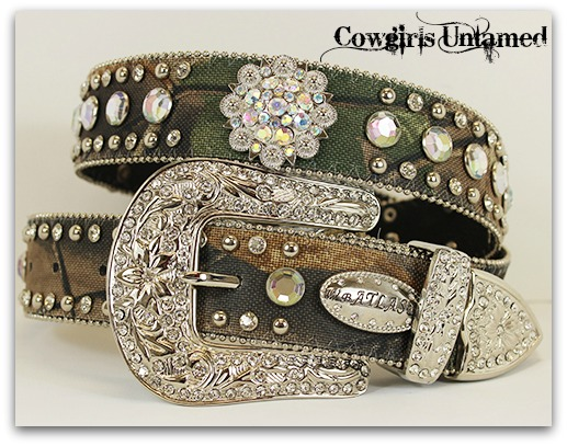 CAMO COWGIRL BELT Silver Crystal Concho Rhinestone Studded on Green Camo Belt