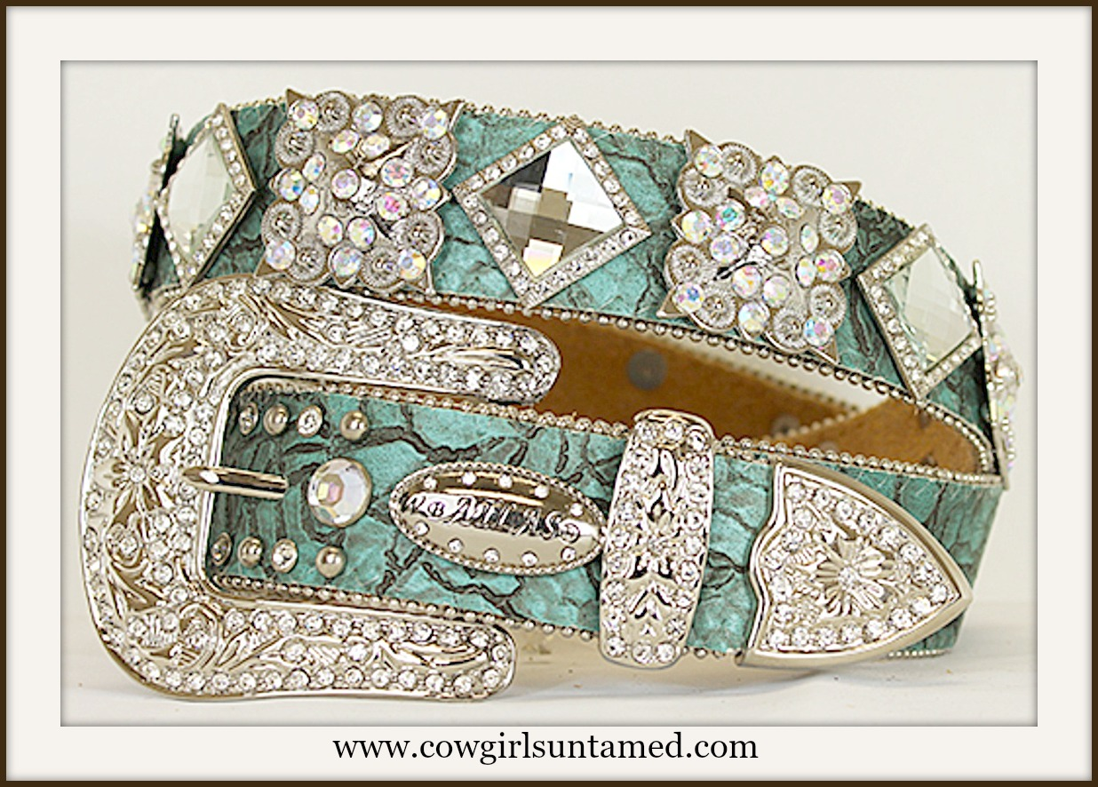 WESTERN COWGIRL BELT Beautiful Aqua Embossed Leather Rhinestone & Crystal Concho Belt
