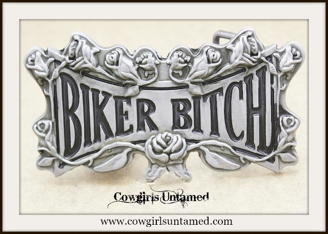 "COWGIRL OUTLAW BELT Antique Silver and Black ""Biker Bitch"" Belt Buckle"