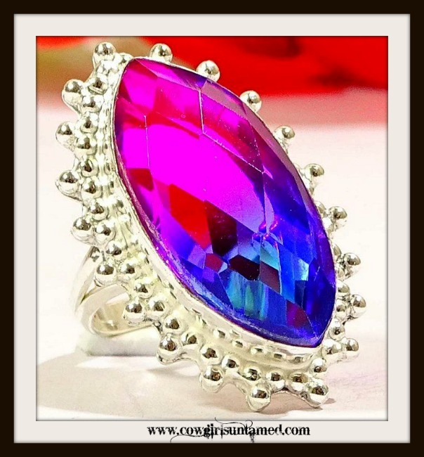 COWGIRL GYPSY RING 925 Sterling Silver and BIO COLOR TOURMALINE
