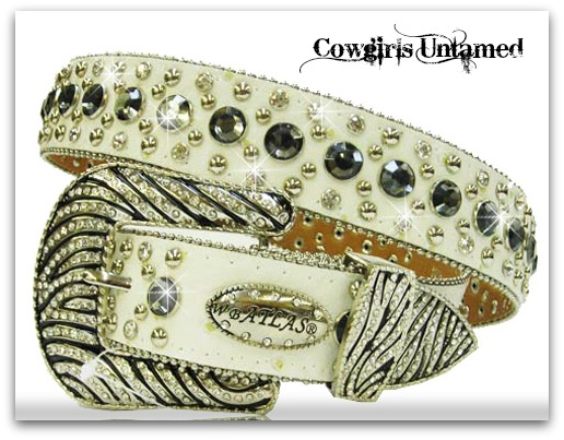ATLAS BELT Rhinestone Studded Black and White Crystal Zebra Buckle on White Leather Western Belt by Atlas