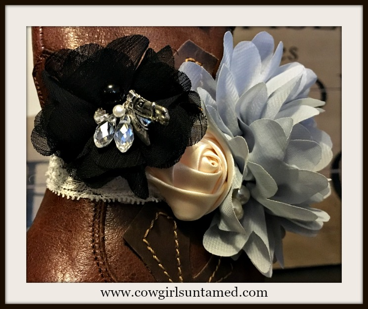 WILDFLOWER BOOT GARTER  Grey Cream Black Flowers with Pearl Crystal Rhinestone & Horse Charm Boot Cuff