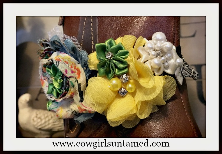 WILDFLOWER BOOT GARTER Cream, Green,Yellow Flowers Pearl Rhinestone Antique Silver Horse Boot Cuff
