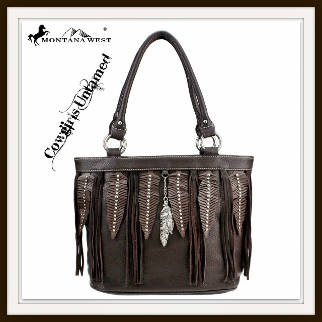 MONTANA WEST HANDBAG Silver Studded Leather Feathers & Trim with Silver Feather Charm Western Handbag
