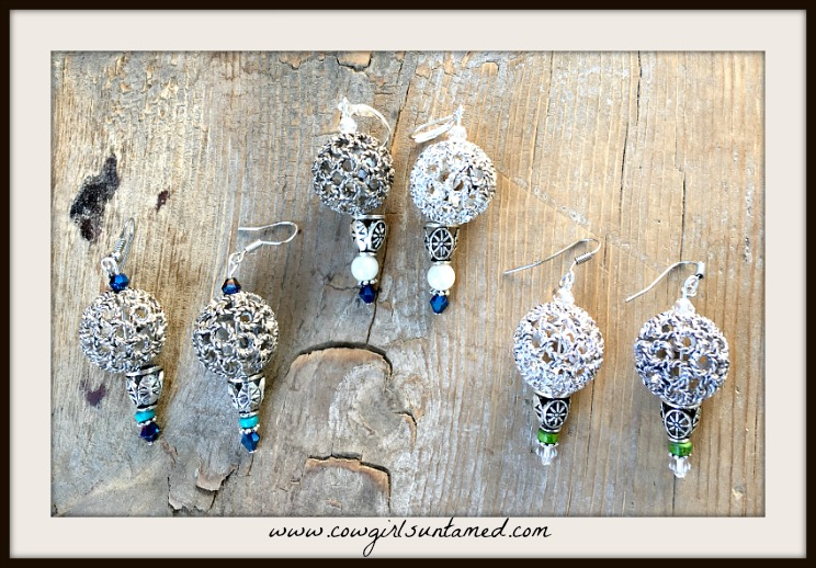BOHEMIAN COWGIRL EARRINGS Antique Silver Filigree Beaded Boho Dangle Earrings
